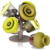 Vacu Vin Herbs and Spices Storage and Dispensing Set with Holder - Green (Includes 6 Containers)