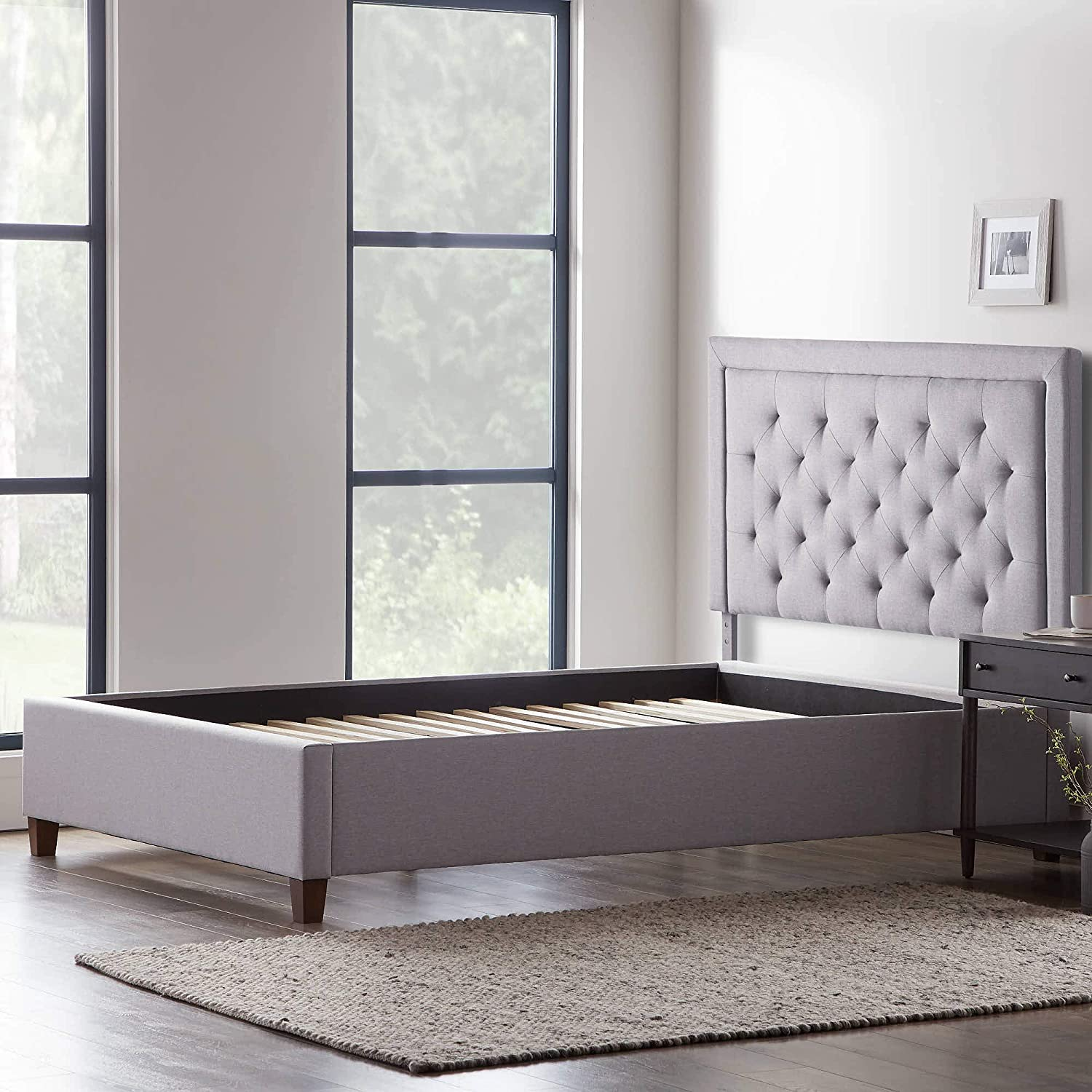 LUCID Bordered Upholstered Headboard with Diamond Tufting with LUCID Upholstered Platform Bed with Slats, Twin, Stone