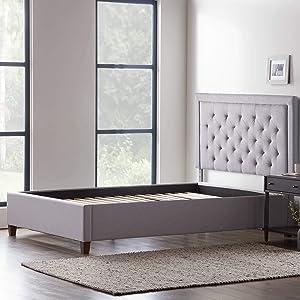 LUCID Bordered Upholstered Headboard with Diamond Tufting with LUCID Upholstered Platform Bed with Slats, King, Stone