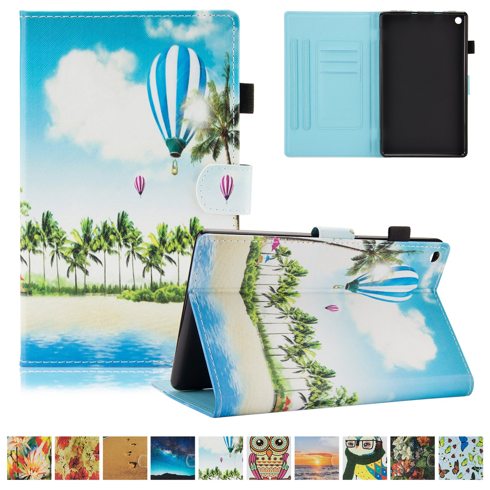 UUcovers Kindle Fire HD 8 Case,Slim Folio Stand Case with Auto Wake/Sleep&[Pen Slot] Smart Cover for Amazon Kindle Fire HD 8 7th Gen 2017 Release & 6th Gen Release 2016 with Free Stylus,Balloon