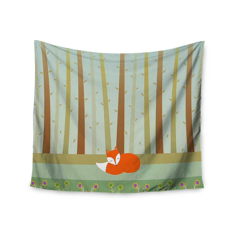 51 x 60 Kess InHouse Cristina Bianco Design Sleeping Fox Green Illustration Wall Tapestry