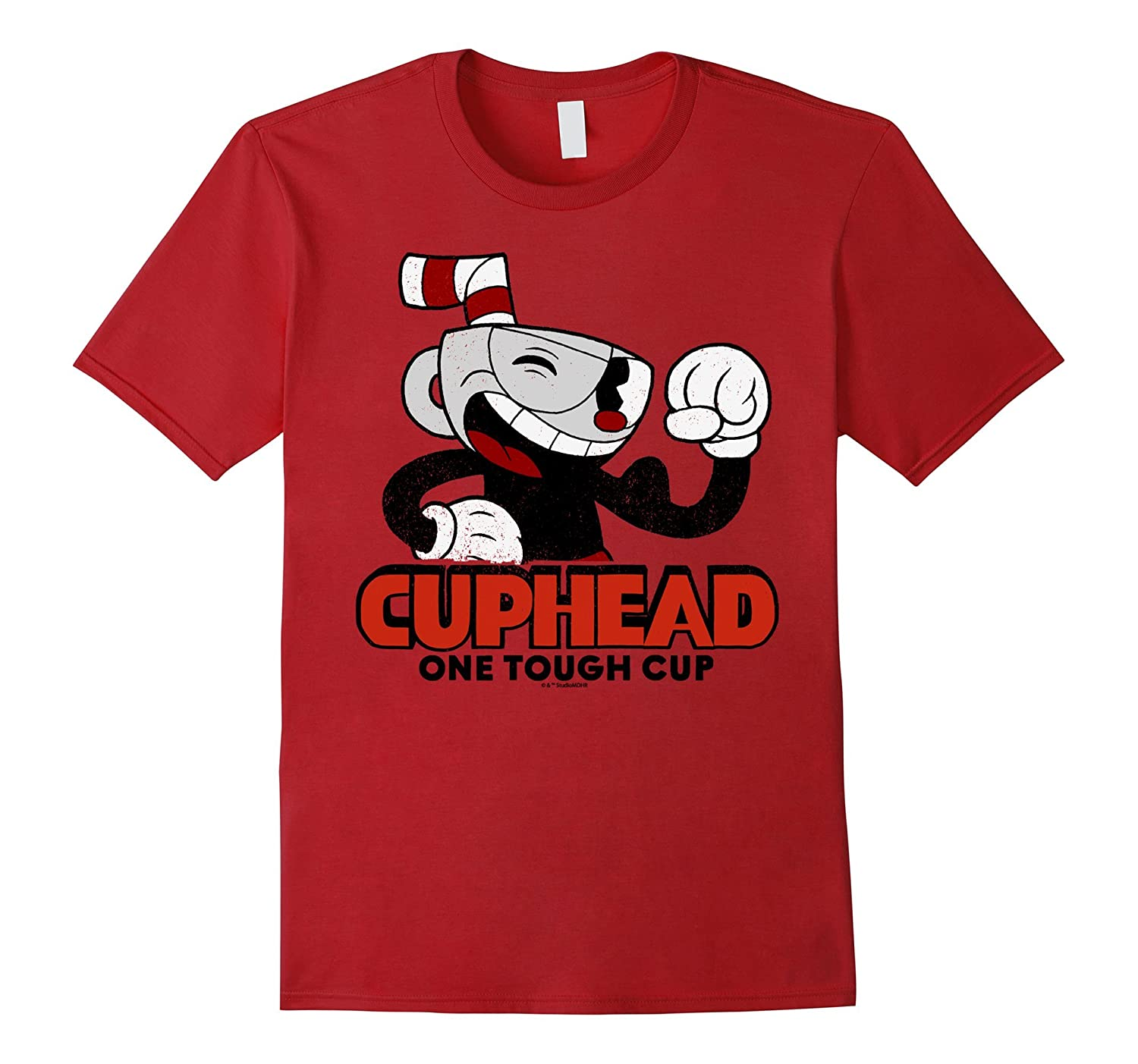 Cuphead Muscle Up One Tough Cup Profile Pose Graphic T-Shirt-T-Shirt