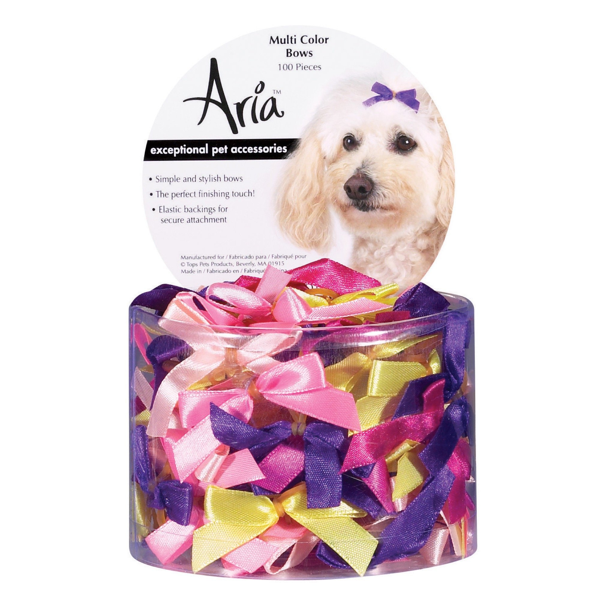 Aria Multi-Colored Bows for Dogs, 100-Piece Canisters by Aria