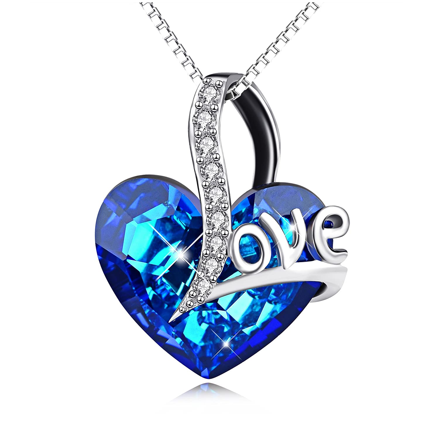 AOBOCO 925 Sterling Silver Heart Necklace ♥Jewelry Gifts for Women♥ Crystals from Swarovski, Jewelry with Gifts Package