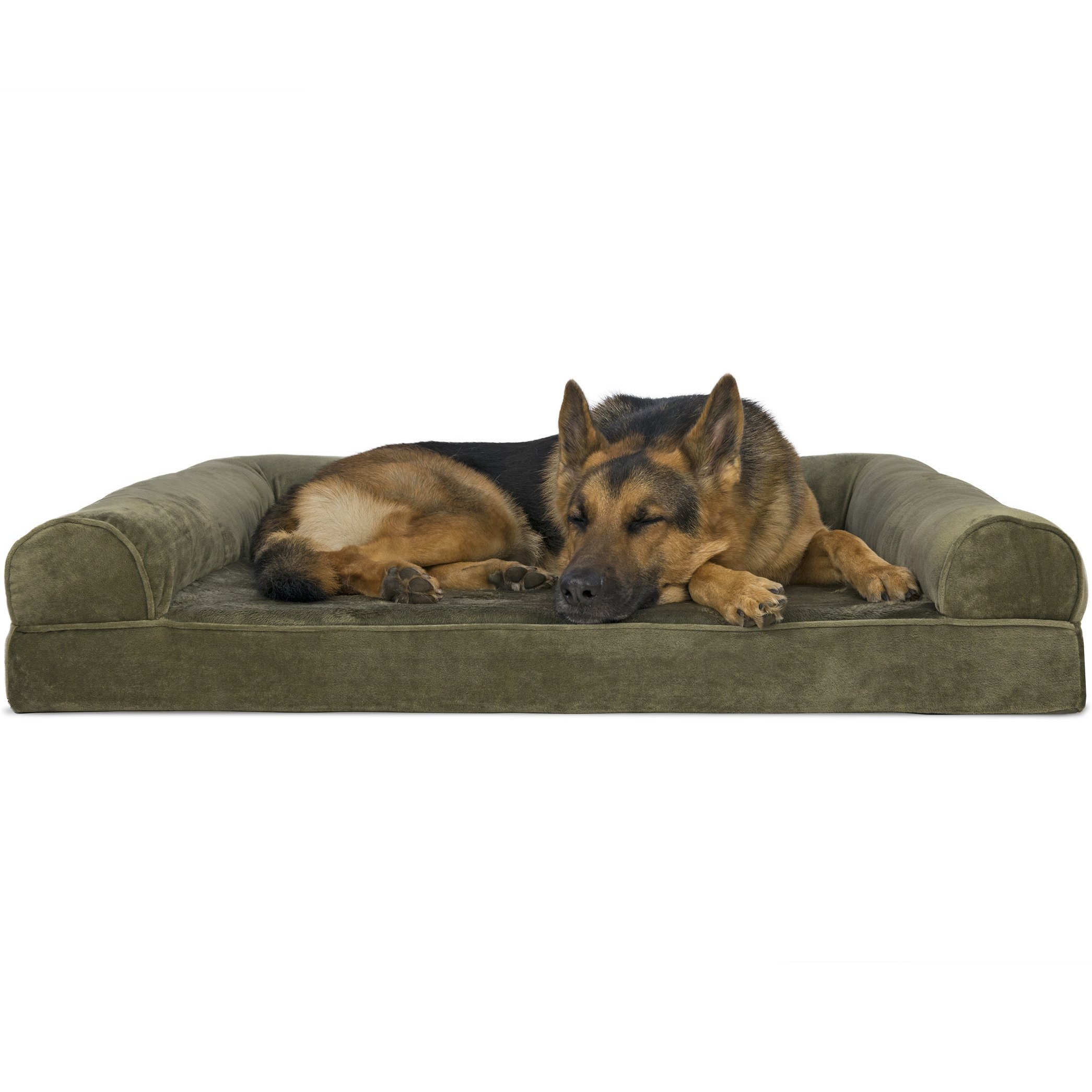 FurHaven Pet Dog Bed | Orthopedic Faux Fur & Velvet Sofa-Style Couch Pet Bed for Dogs & Cats, Dark Sage, Jumbo