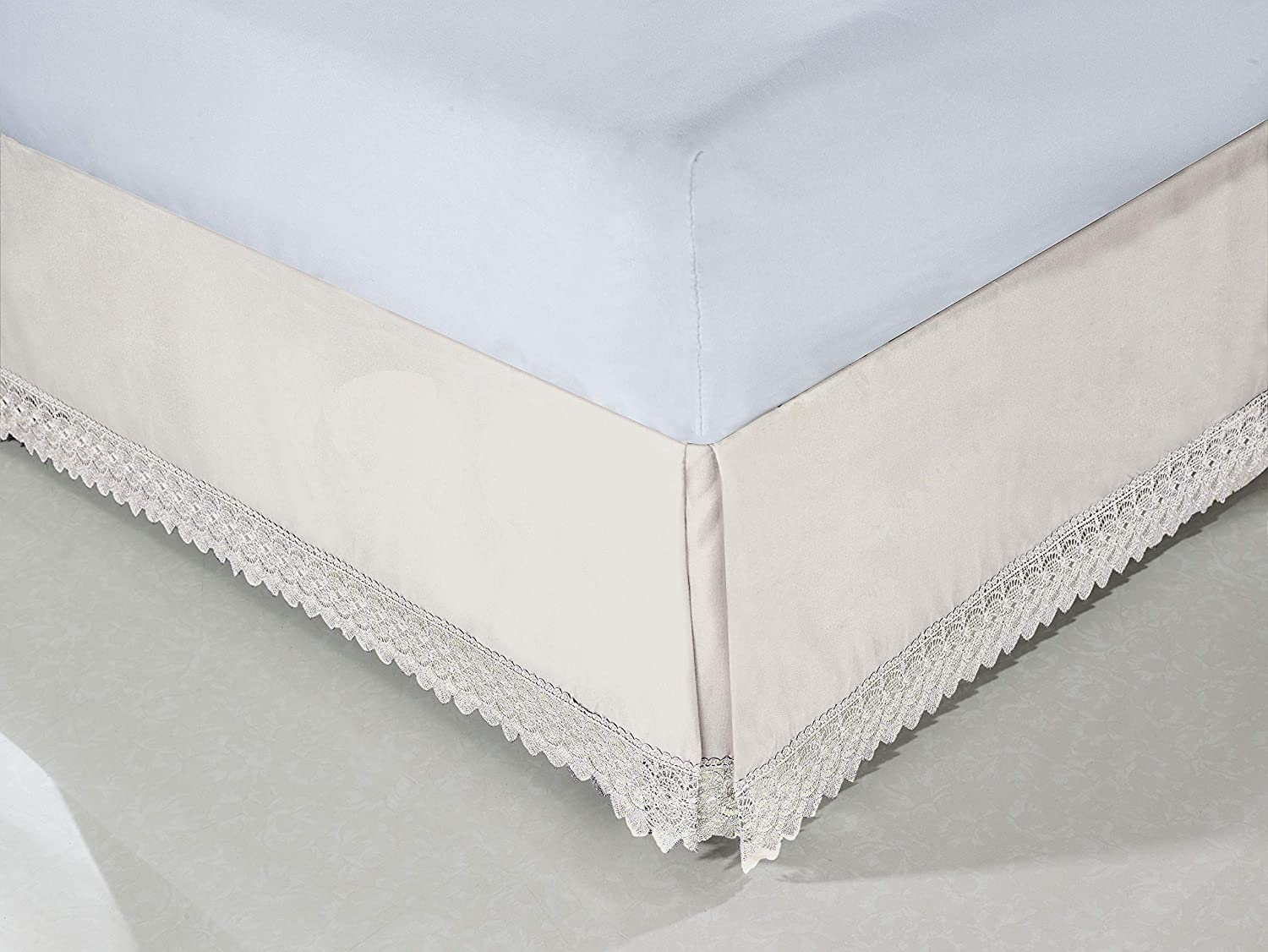 White King Elegant Comfort  Silky-Soft Luxury Lace Fringe Dust Ruffle//Bed Skirt Microfiber Platform Wrinkle and Fade Resistant with 15inch Drop