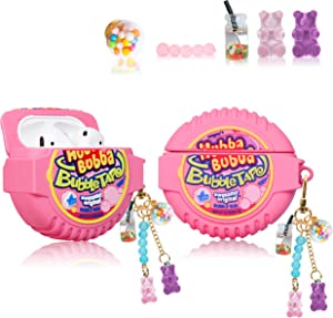 Lupct for Airpod 2/1 Silicone Case, Soft Cartoon Fashion Cute Food Design Air Pods Cover Kids Girls Women Funny Headphone Fun Cool Unique Kawaii Keychain Cases for AirPods 2&1 (Popo Candy Chain)
