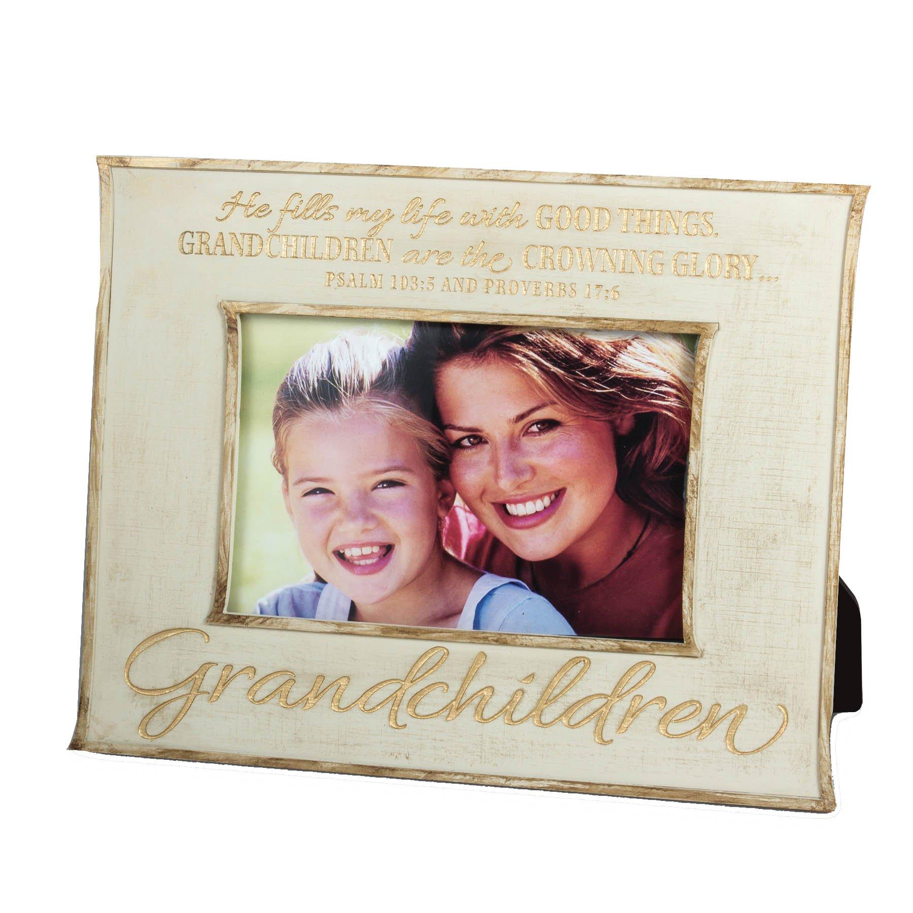 Lighthouse Christian Products Grandchildren Linen Texture Frame, 4 x 6'', Cream