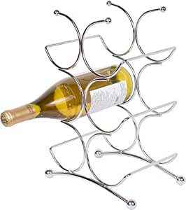 BIRDROCK HOME 6 Bottle Free Standing Wine Rack, Chrome