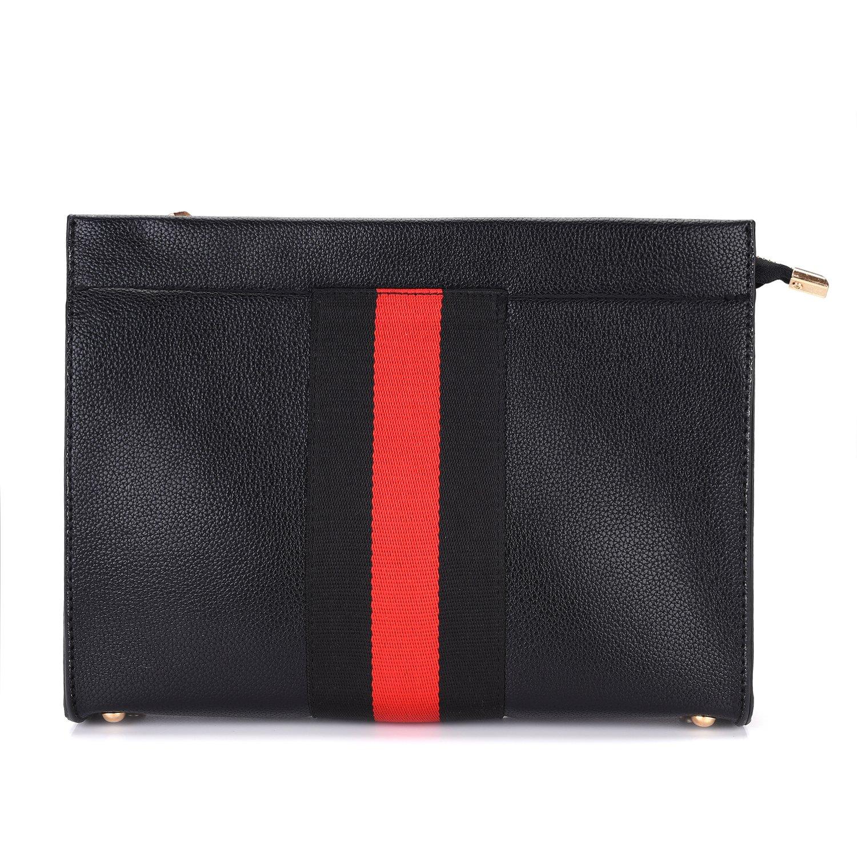 VRLEGEND Casual Clutch Bag Women Purse Envelop Leather Evening Handbag (Black 4)