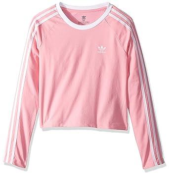 41f62062949018 Amazon.com  adidas Originals Girls  Big 3-Stripes Crop Long Sleeve ...