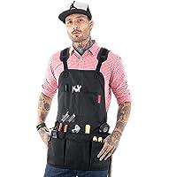 Under NY Sky Tool Apron – Magnetic Tool Holder – Heavy Duty Black Oxford Canvas – Cross-Back – 18 Pockets – Adjustable for Men, Women – Pro Mechanic, Woodworker, Carpenter, Electrician, Gardener Apron