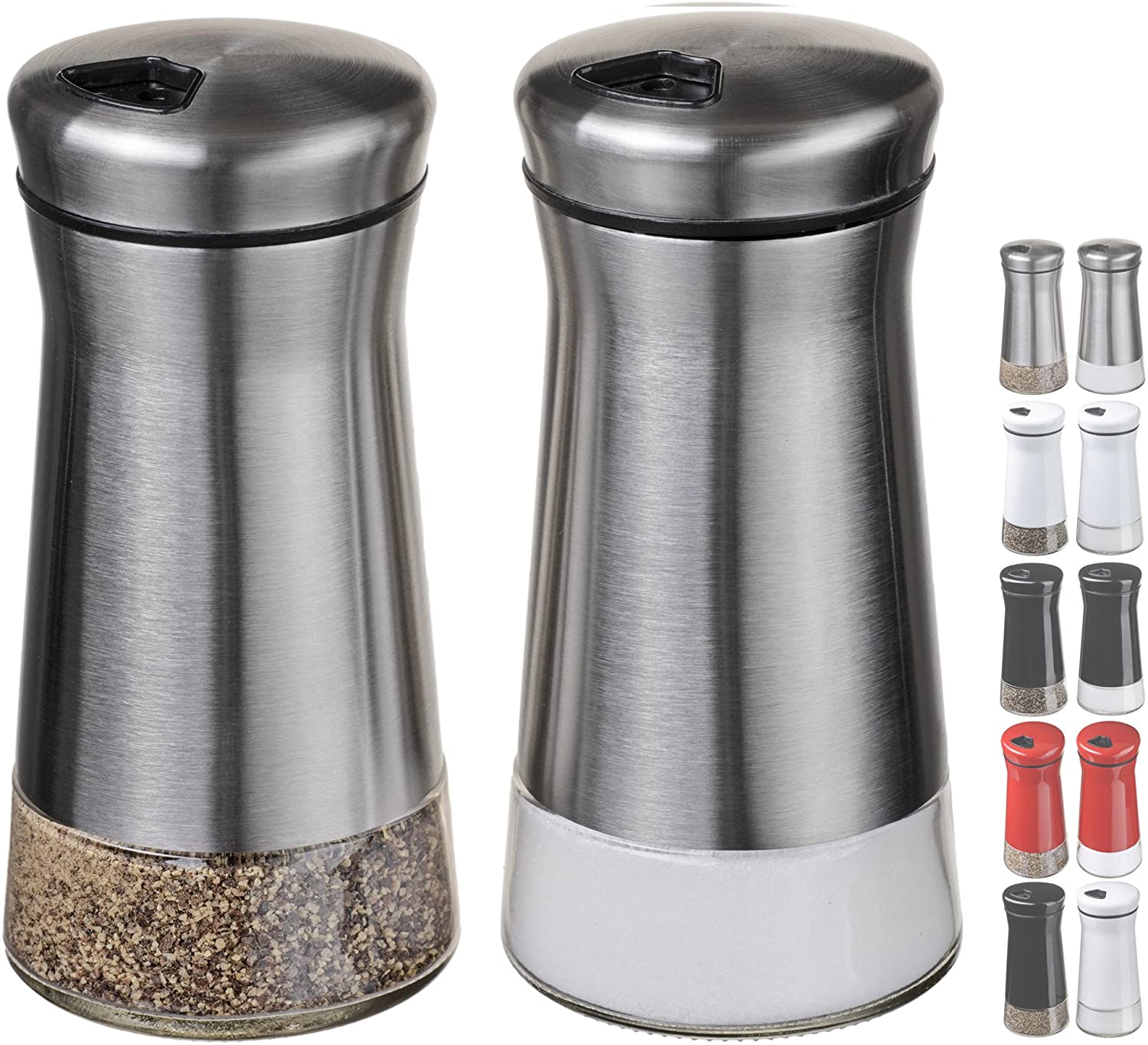 Amazon Com Chefvantage Salt And Pepper Shakers Set With Adjustable Holes Stainless Steel Kitchen Dining