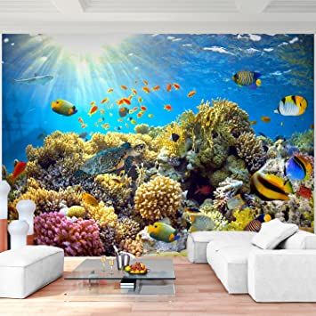 Fototapete Aquarium 352 x 250 cm Vlies Wand Tapete Wohnzimmer ...