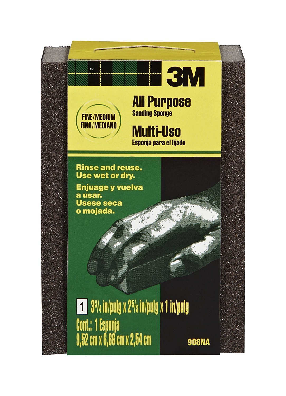 3M Sanding Sponge, Fine/Medium, 3.75-Inch by 2.625-Inch by 1-Inch, 2-PACK
