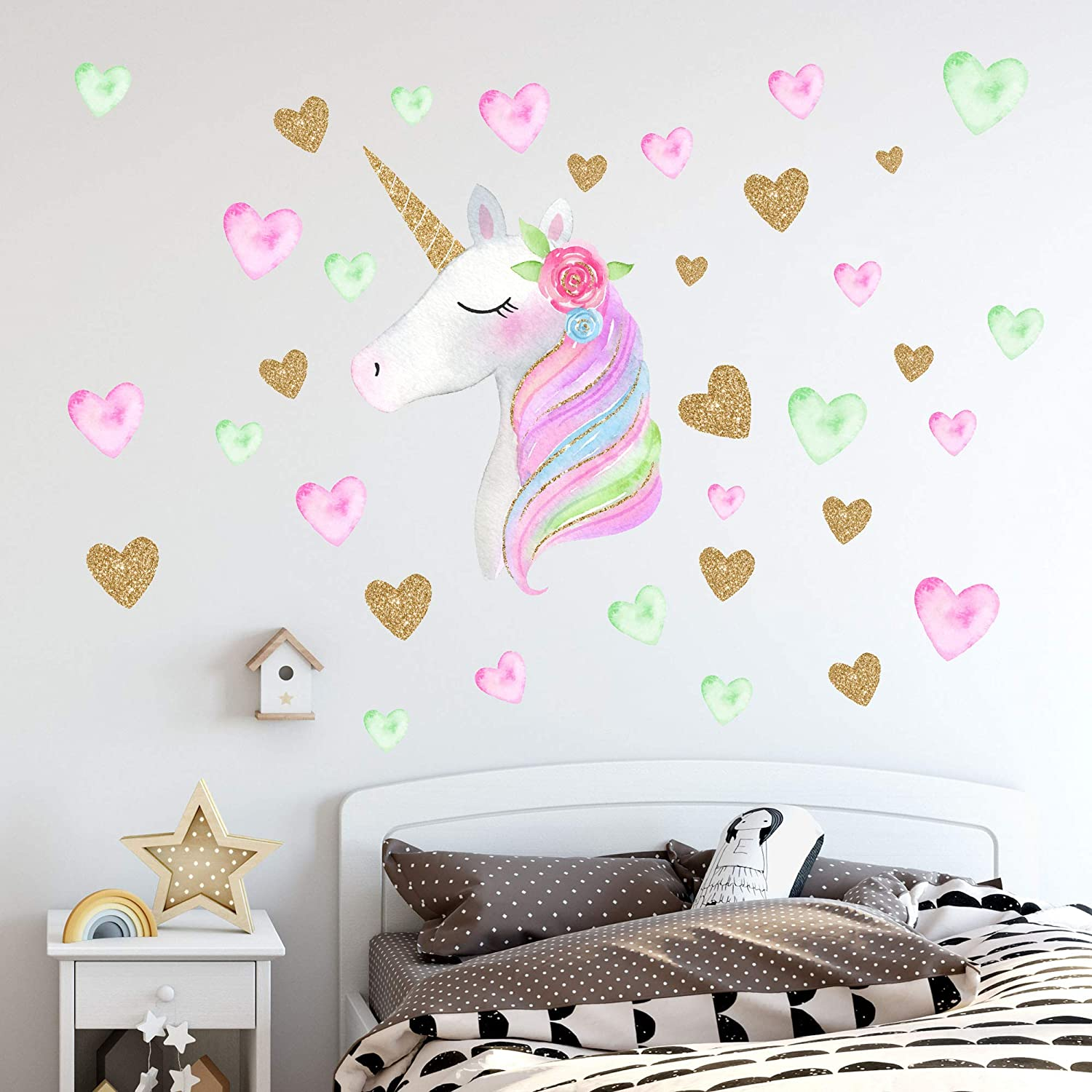 Unicorn Wall Decals,Unicorn Wall Sticker Decor with Heart Flower Birthday  Christmas Gifts for Boys Girls Kids Bedroom Decor Nursery Room Home Decor  ...