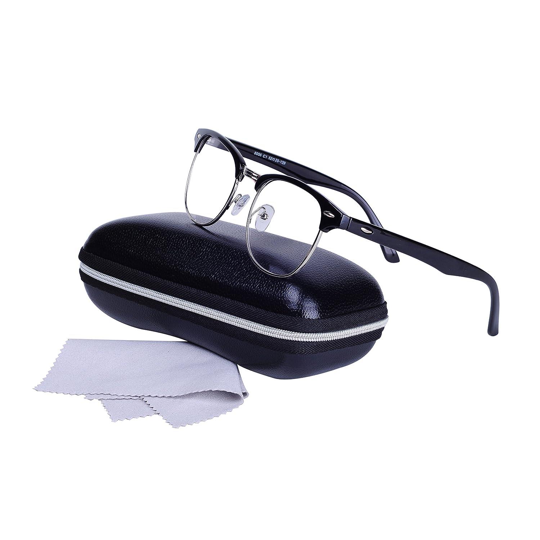 QIXU Montura de Gafas de para Hombre y Mujer Retro Clubmaster Wayfarer  Lente Transparente con 1 cd7d15e0b3e5