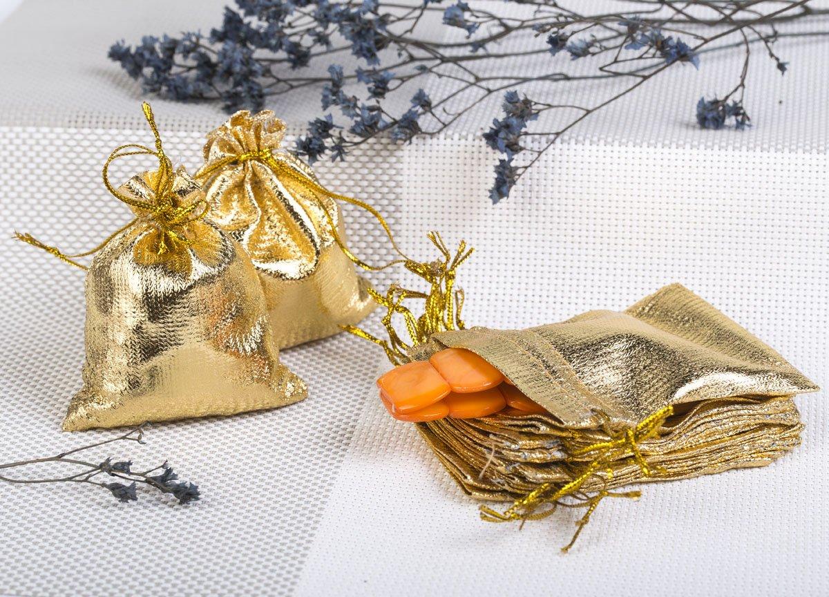 Säckchen 9x12 cm Organzasäckchen Schmuckbeutel Wedding Beutel Hochzeit Gold (100)