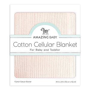 Amazing Baby Cellular Blanket, Premium Cotton, Soft Pink