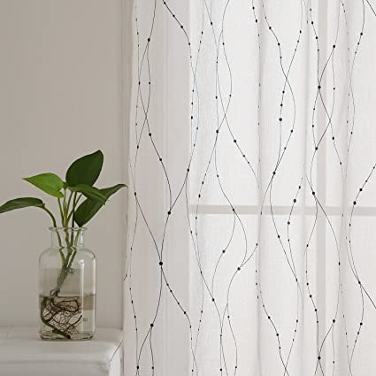 Deconovo White Sheer Curtains 63 Wave Line With Dots Foil Printed Grommet Linen Look