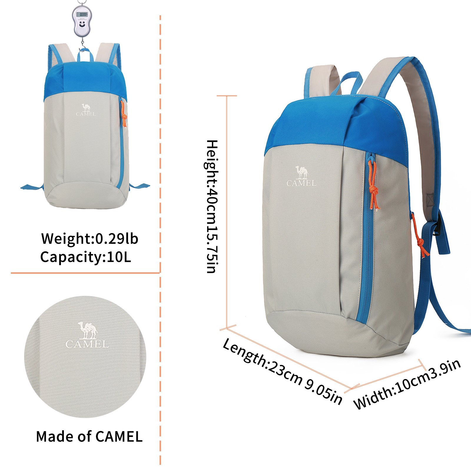 Camel 10L Lightweight Travel Backpack Outdoor Mountaineering Hiking Daypack with Durable & Waterproof (Light Gray)