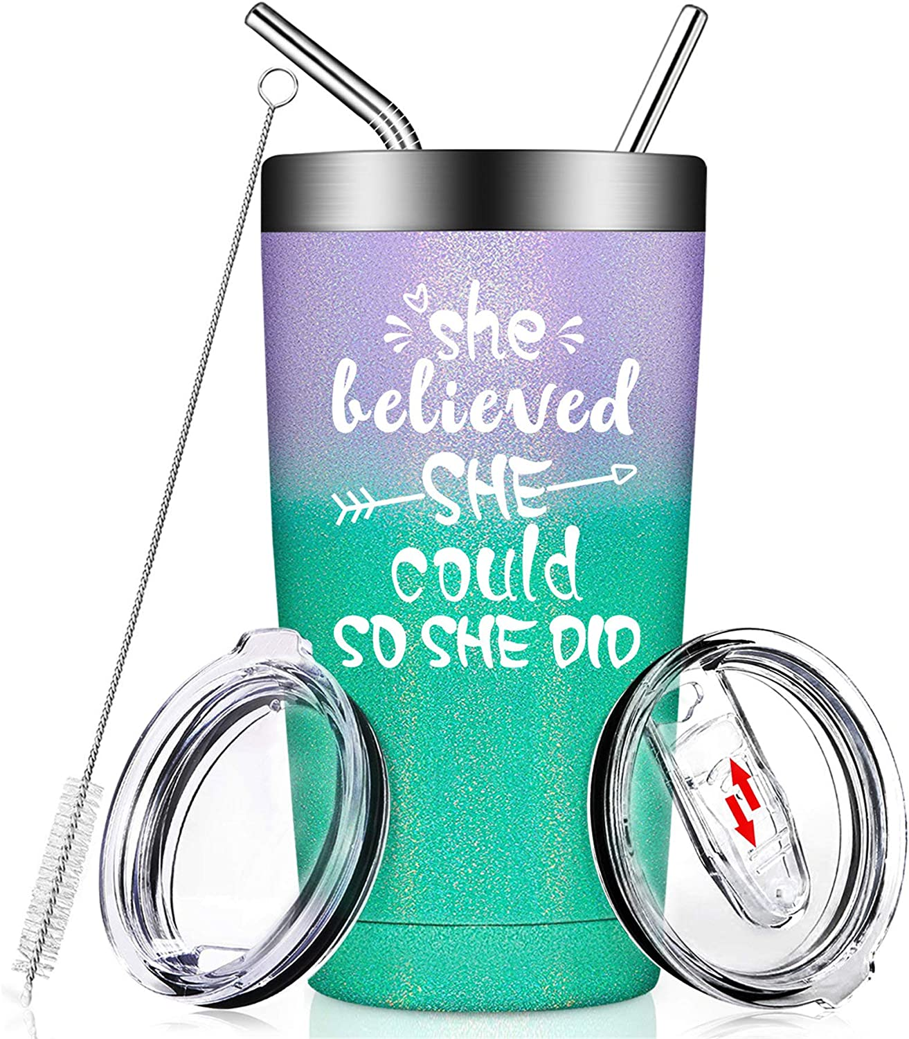She Believed She Could So She Did - Funny Birthday Congratulations Spiritual Inspirational Gifts for Women, Her, Friend, Coworker, Going Away, College Graduation, Job Change, Insulated 20oz Tumbler