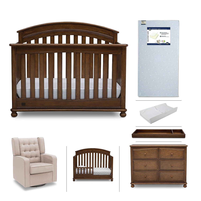Baby furniture set 7 piece simmons kids nursery aden convertible crib dresser glider crib mattress toddler rail changing top changing pad