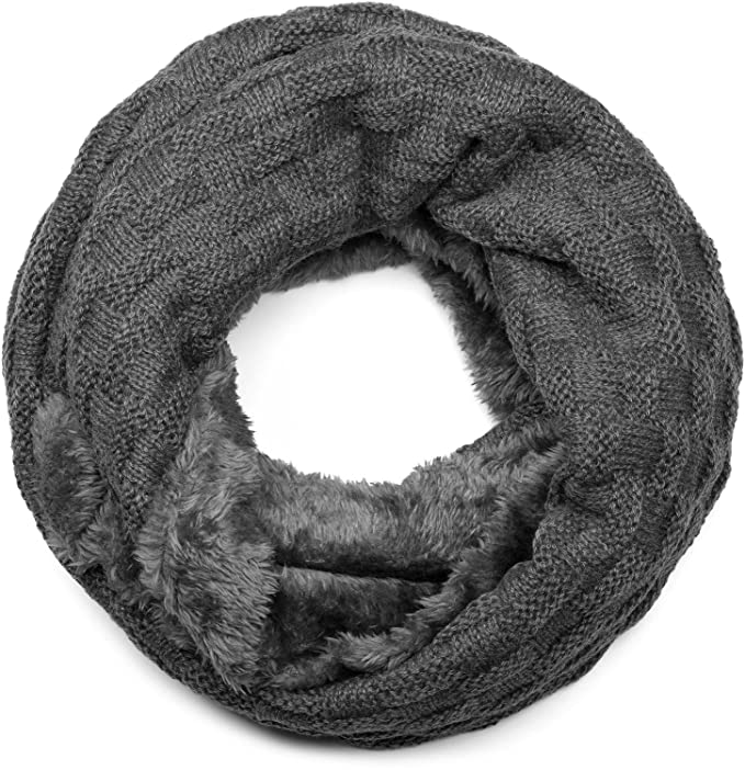 styleBREAKER warmer Feinstrick Loop Schal mit Flecht Muster und sehr ...