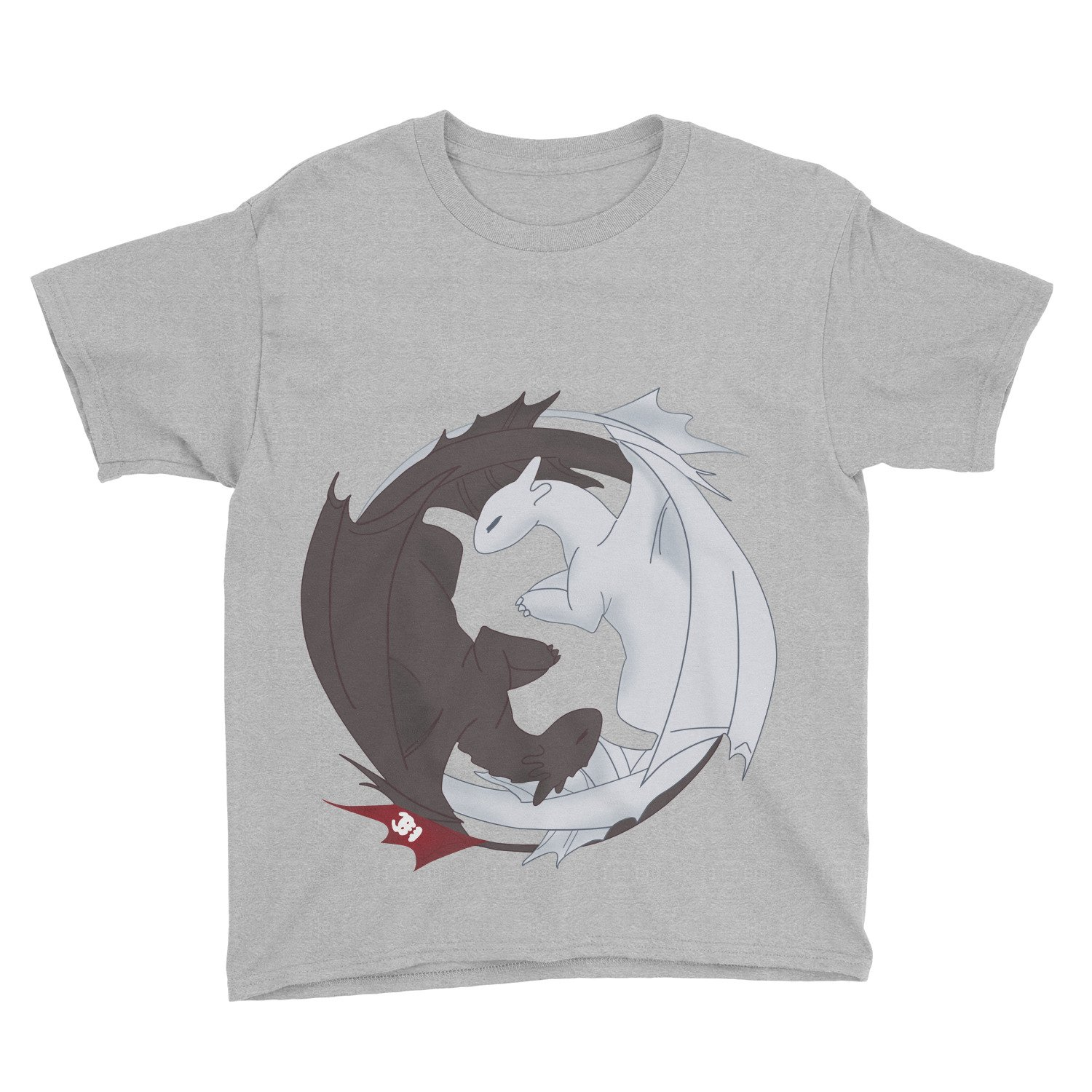 Kids How to Train Your Dragon Night Fury Love Light Fury T-Shirt (XL, Sport Grey)