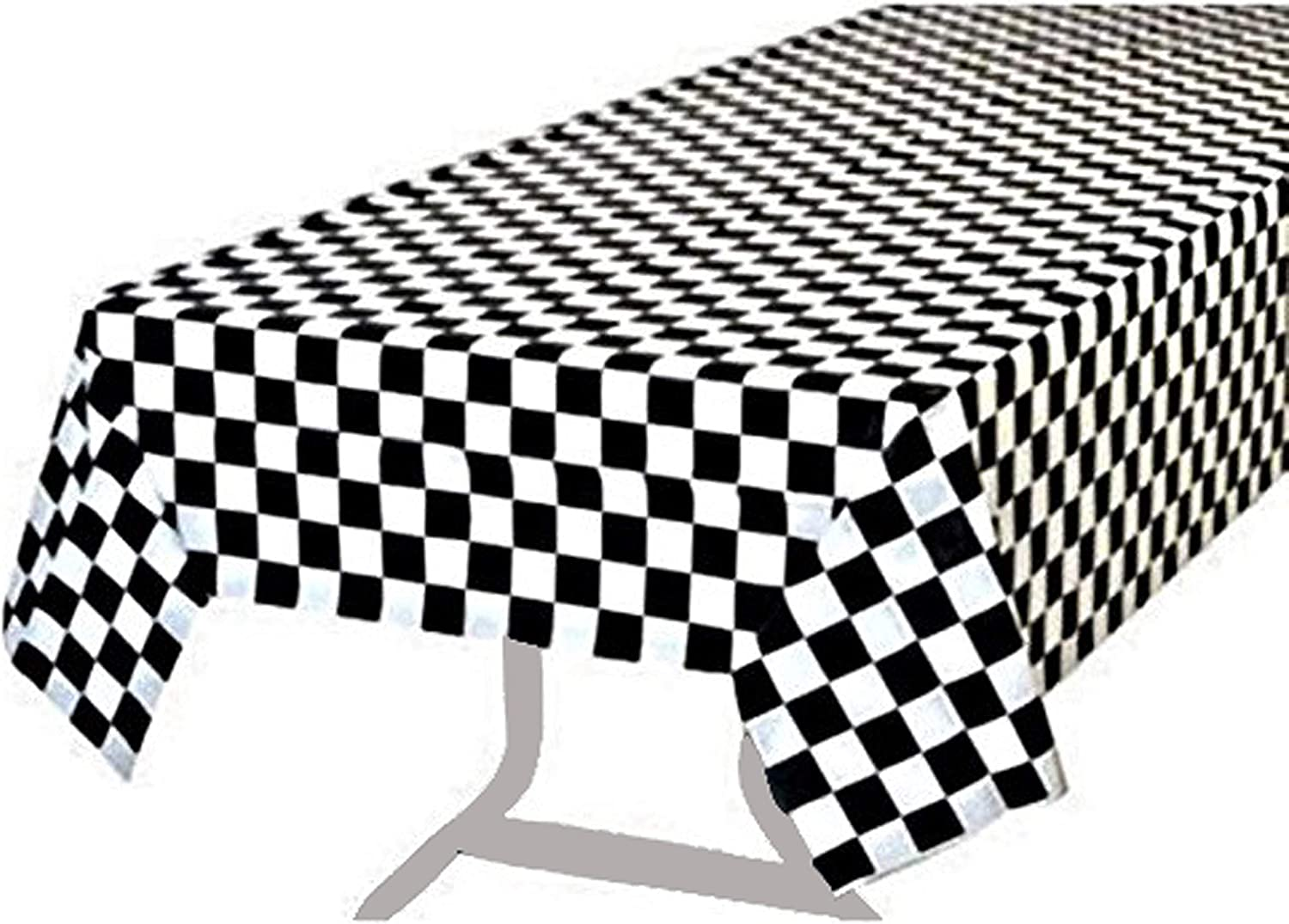 BRICHBROW Pack of 2 Premium Plastic Checkered Flag Tablecloths Picnic Table Covers, Tablecovers Party Favor (2, Black)