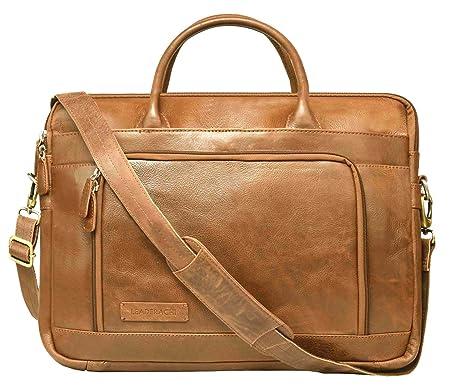 Leaderachi- VT Leather Laptop Briefcase Bag [Bremen, Cognac] Laptop Messenger & Shoulder Bags at amazon