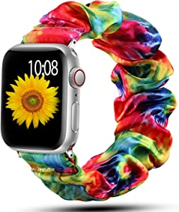 Muranne Scrunchie Elastic Band Compatible for Apple Watch 38mm 40mm for Women Girls Soft Cloth Rubber Stretchy Band Strap Bracelet for iWatch SE & Series 6 5 4 3 2 1 Tie Dye 38mm/40mm Large