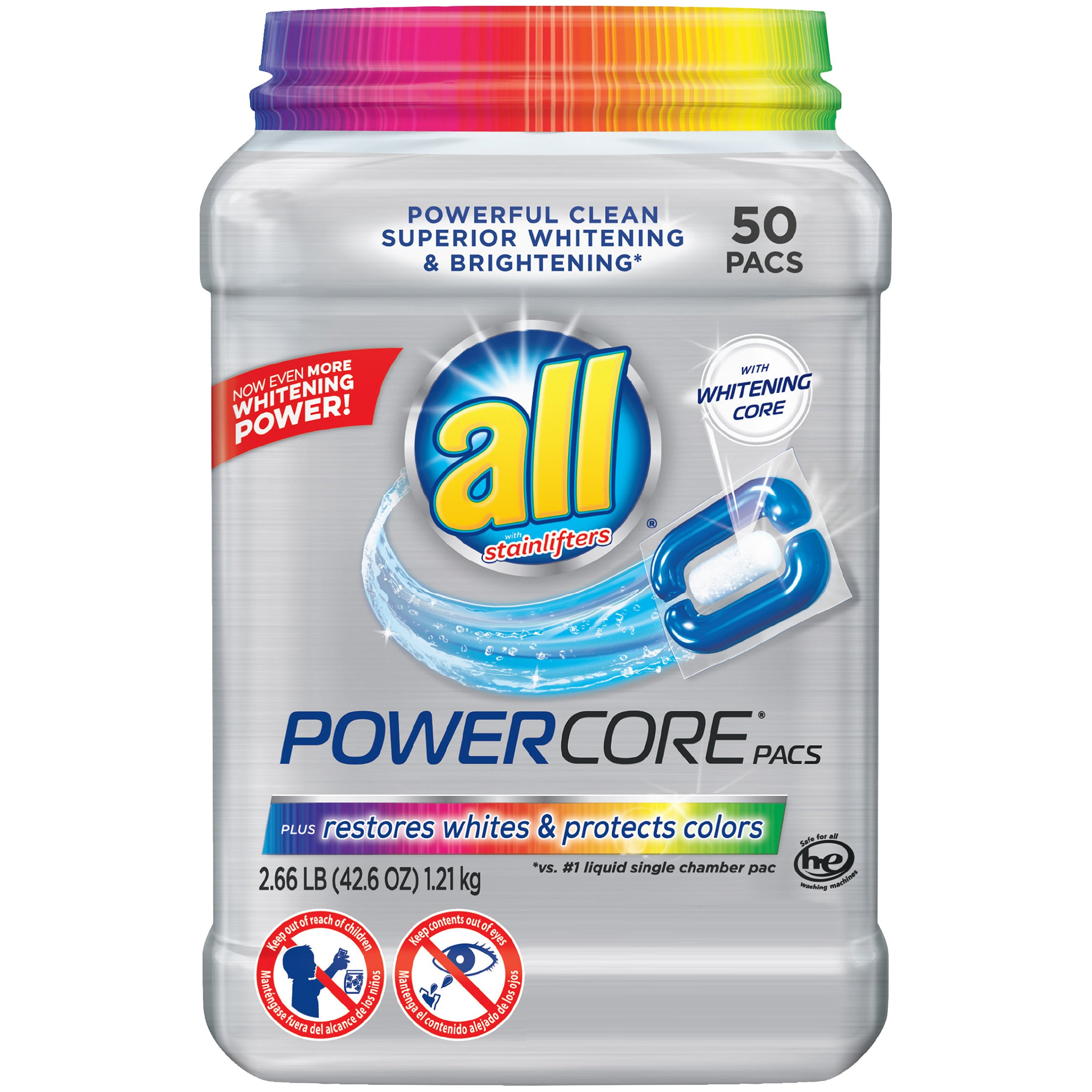 all Powercore Pacs Laundry Detergent Plus Restores Whites & Protects Colors, Tub, 50 Count