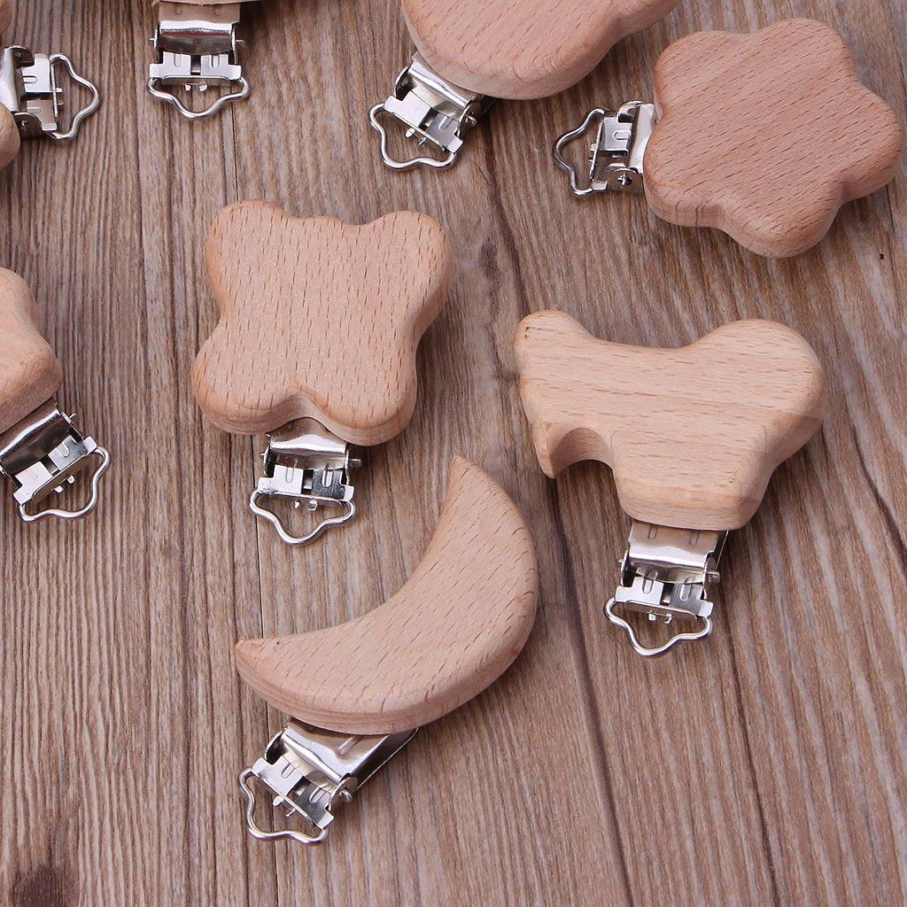 lpyfgtp Chupete Clip dibujos animados animales de madera de haya Dummy Clips DIY Cadena para chupete Holzfarbe Talla:#1