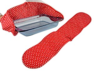 "Home-X Red Polk Dot Double Oven Mitt for Cooking and Serving, Heat Resistant, Extra Long Potholder, Oven Gloves to Protect Hands and Arms, Machine Washable -32""L"