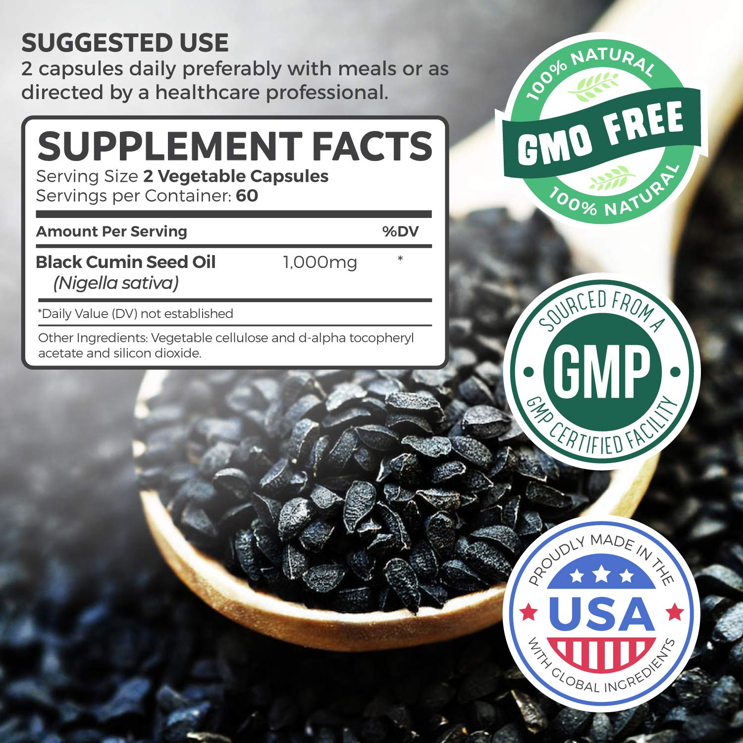Black Seed Oil - 120 Softgel Capsules (Non-GMO & Vegetarian) Premium Cold-Pressed Nigella Sativa Producing Pure Black Cumin Seed Oil with Vitamin E - ...