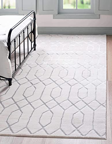 Unique Loom Marilyn Monroe Glam Collection Textured Geometric Trellis White/Silver Area Rug 10' 0 x 13' 0