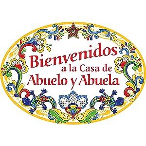 """Bienvenidos a la Casa de Abuelo y Abuela"" Hispanic Traditional Artwork Spanish Welcome to Grandpa & Grandma's House 11x8"" Ceramic Door Sign by E.H.G."