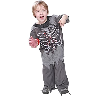 EraSpooky Skeleton Bloody Zombie Boy Costume Horror Halloween Kids Fancy Dress Outfit: Clothing