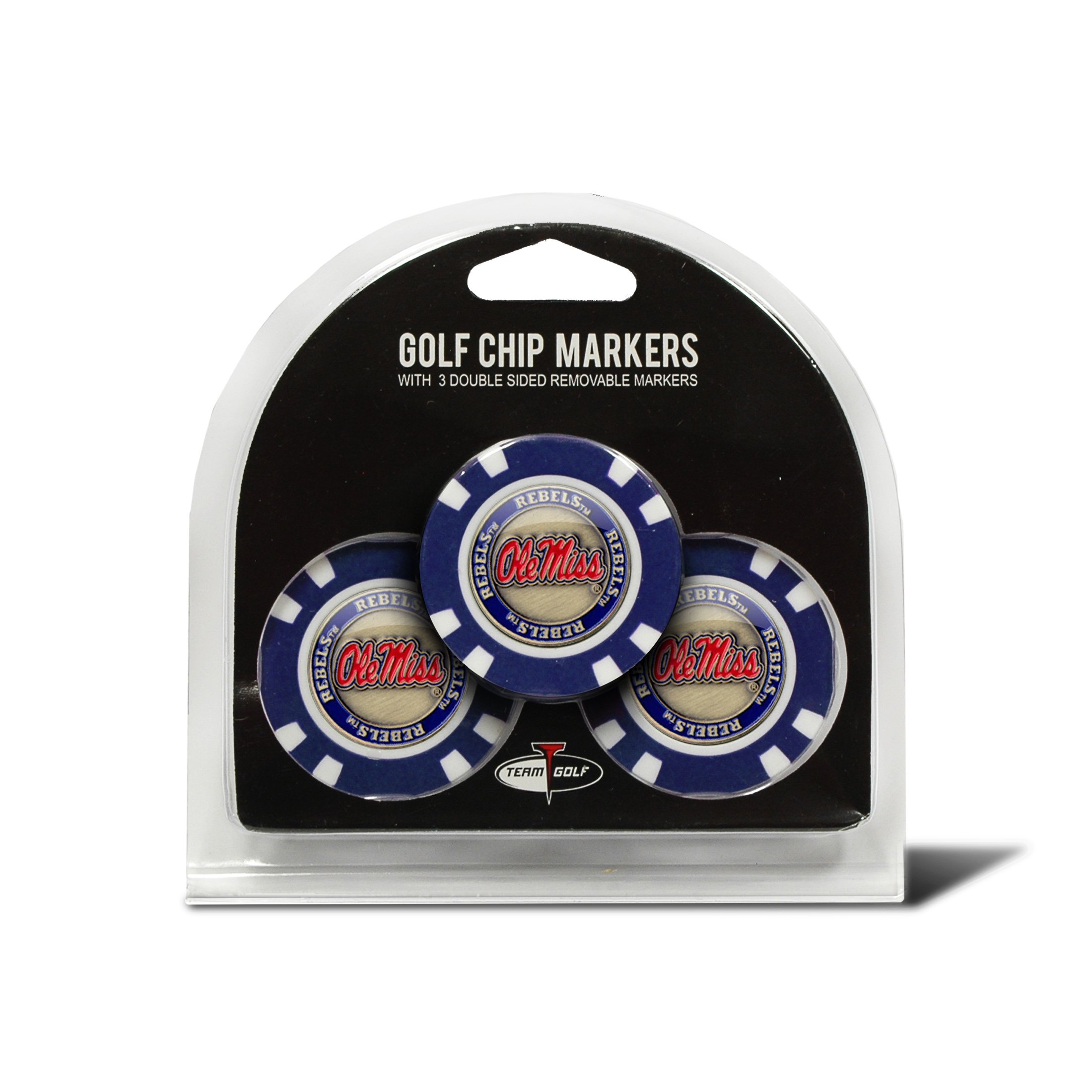 Team Golf NCAA Ole Miss Rebels Golf Chip Ball Markers (3 Count), Poker Chip Size with Pop Out Smaller Double-Sided Enamel Markers by Team Golf