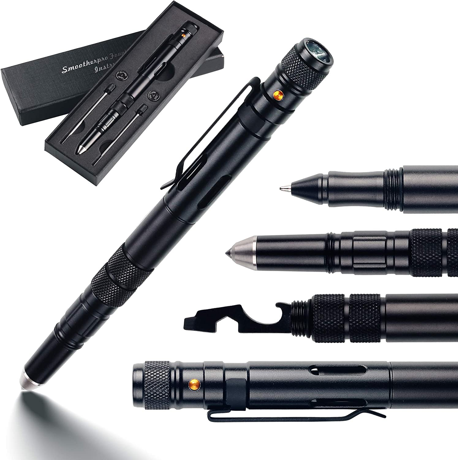 TP550 SMOOTHERPRO Tactical Pen with LED Flashlight Tungsten Tip Bottle Opener Hex Wrench and Screwdriver for SWAT Police Military EDC Color Black
