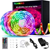 Tenmiro 65.6ft Led Strip Lights, Ultra Long RGB 5050 Color Changing LED Light Strips Kit with 44 Keys Ir Remote Led Lights fo