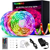 Tenmiro 65.6ft Led Strip Lights, Ultra Long RGB 5050 Color Changing LED Light Strips Kit with 44 Keys Ir Remote Led…