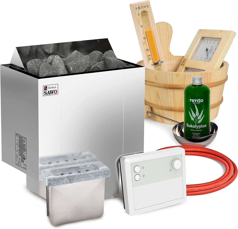 Elektrische Saunaofen Sawo Nordex Plus 8kW mit Saunasteuerung Sawo K1 zusammen mit 20kg Steinen und Sauna Zubeh/ör Set