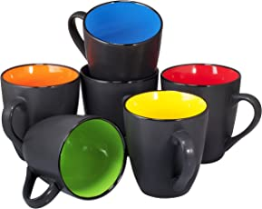 Set Of 6 Large Sized 16 Ounce Ceramic Coffee Mugs