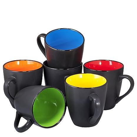 Of 16 Coffee Ceramic Set By Sized Black Large Restaurant 6 Mug Matte Mugs Bruntmor Ounce rxWdCoBe