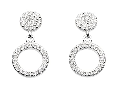 Dew Sterling Silver Round Stud Earrings GdPyYBFH