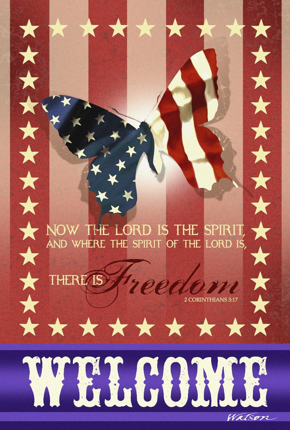 Toland Home Garden Spirit of Freedom 12.5 x 18 Inch Decorative Patriotic Welcome USA Butterfly Garden Flag