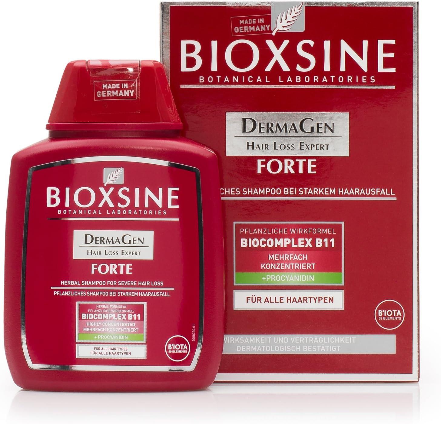 Forte Shampoo para la pérdida de cabello fuerte - para mujeres y hombres   con champú vegetal para acelerar el crecimiento del cabello   remedio para el crecimiento del cabello 300 ml   de Bioxsine