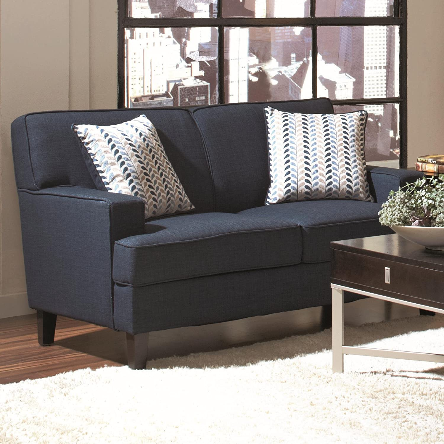 Amazon Coaster Home Furnishings Transitional Loveseat Blue